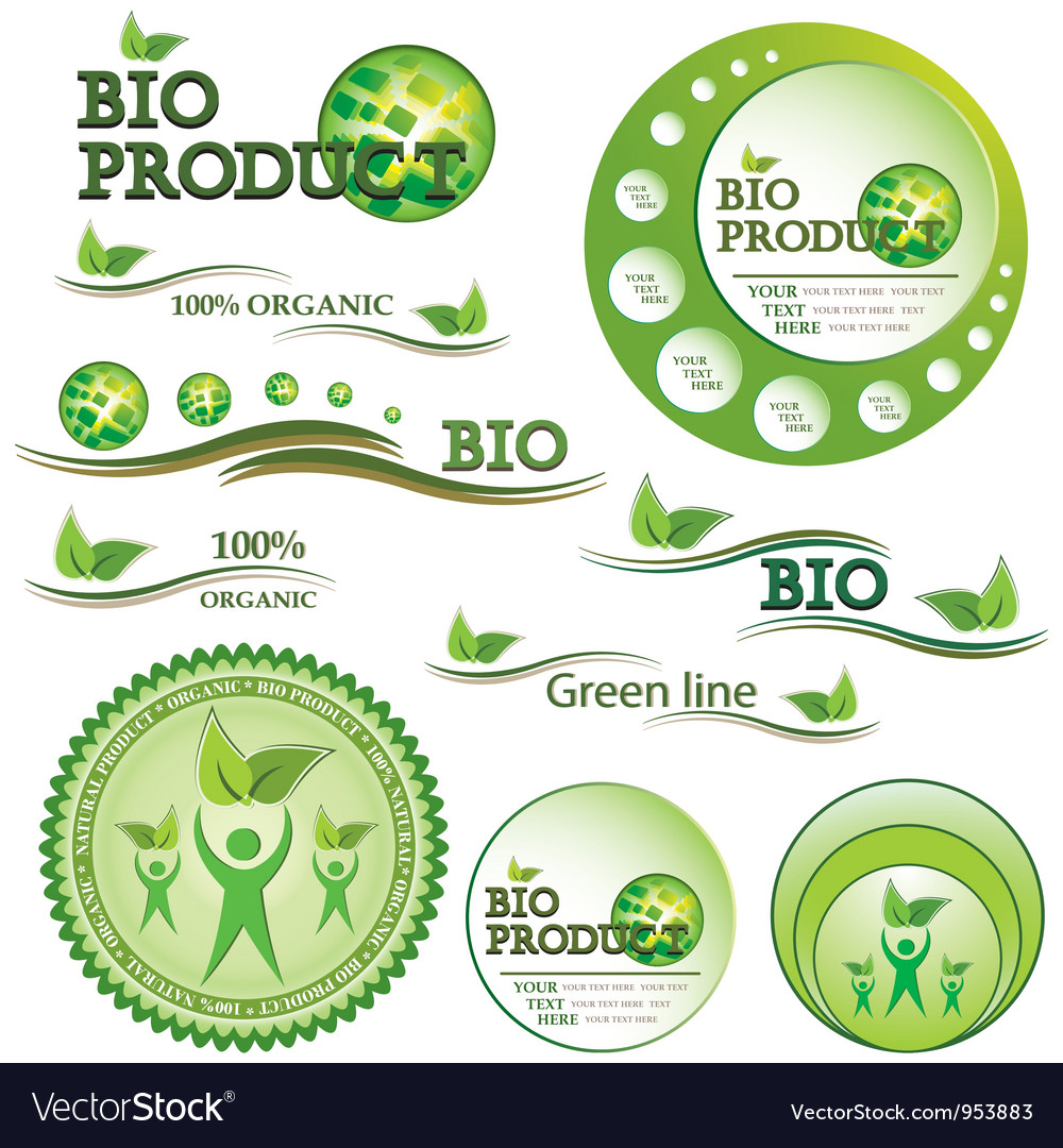 Set of green bio and organic badges vector | Price: 1 Credit (USD $1)