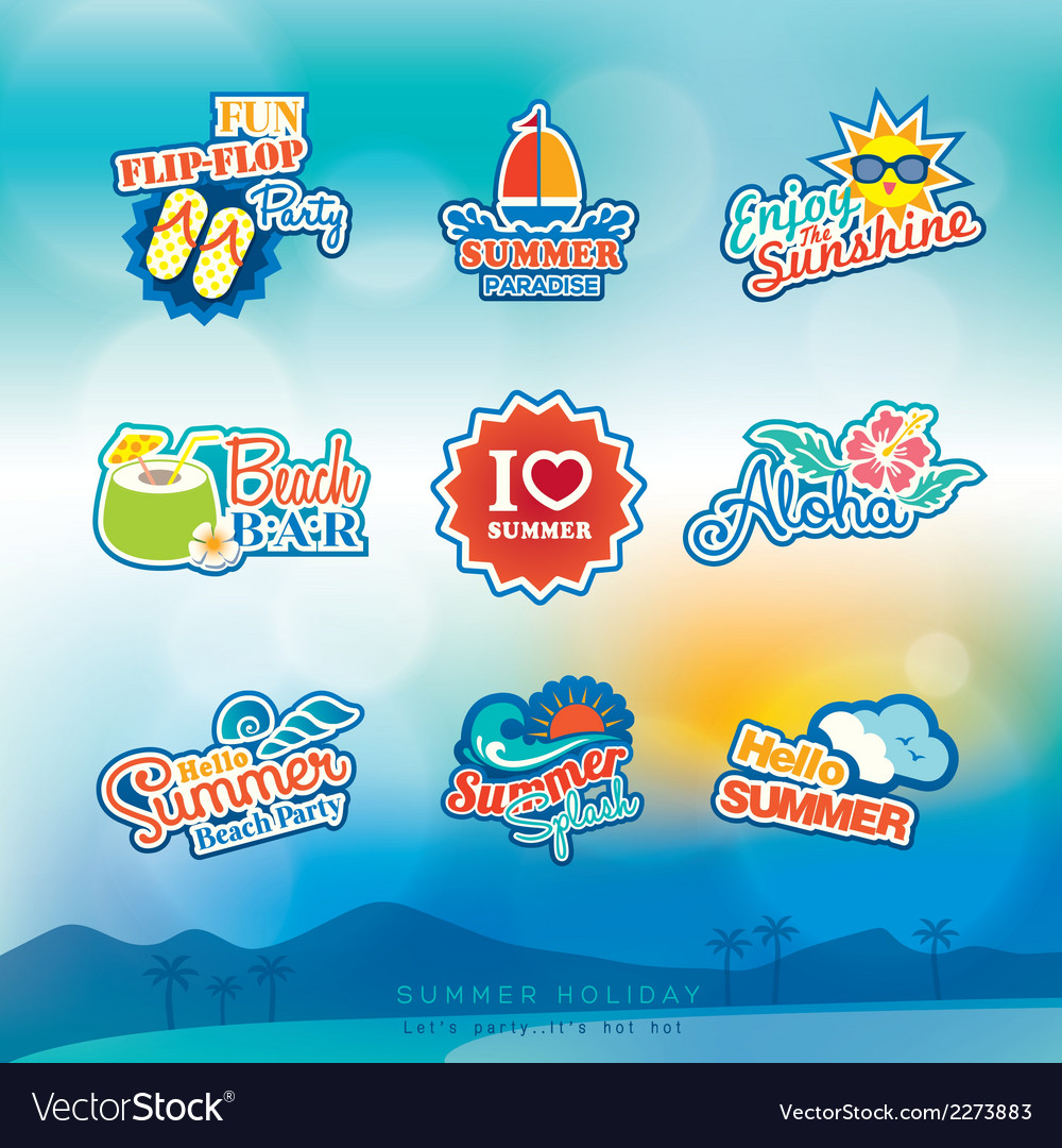 Summer label sticker badge icon set vector | Price: 1 Credit (USD $1)