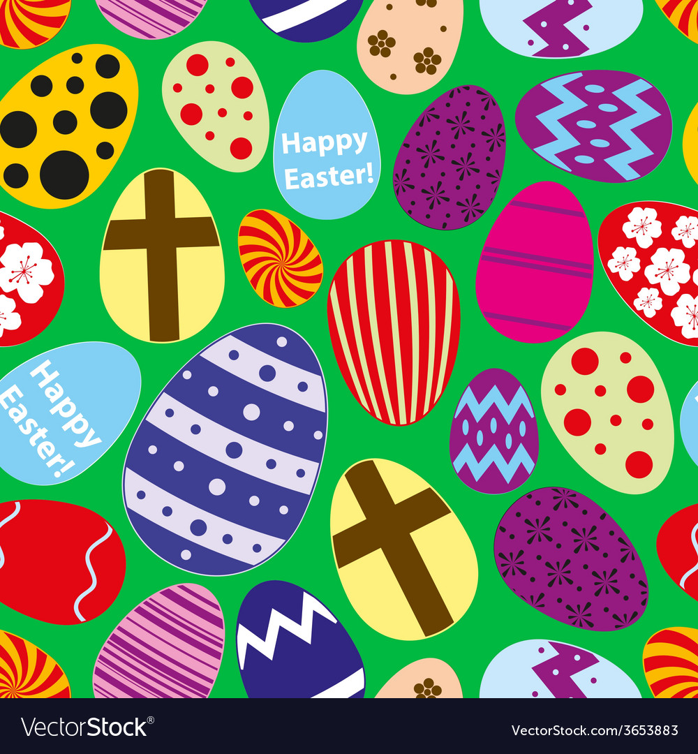 Various color easter eggs design seamless pattern vector | Price: 1 Credit (USD $1)