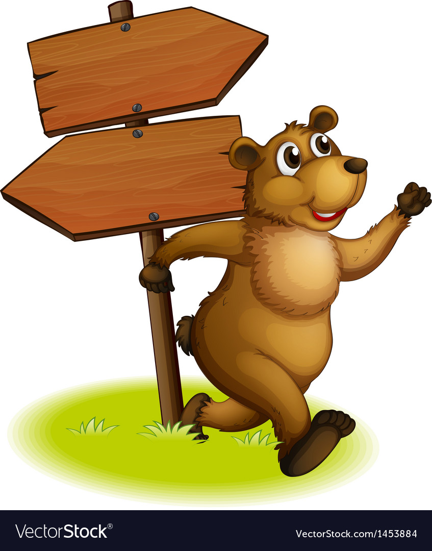 A bear running with a wooden arrow board at the vector | Price: 1 Credit (USD $1)