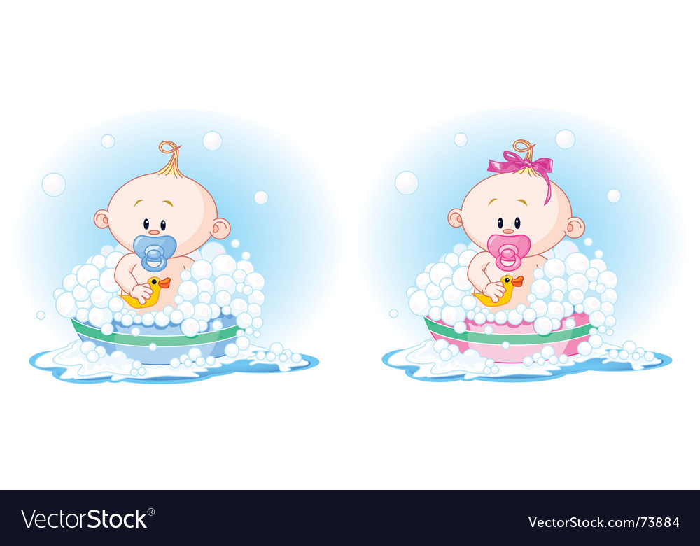 Babies taking a bath vector | Price: 3 Credit (USD $3)