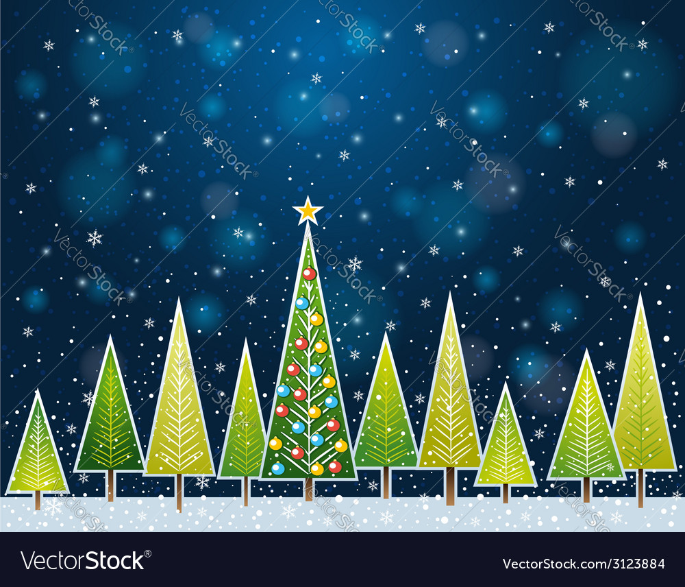 Christmas forest in the night vector | Price: 1 Credit (USD $1)