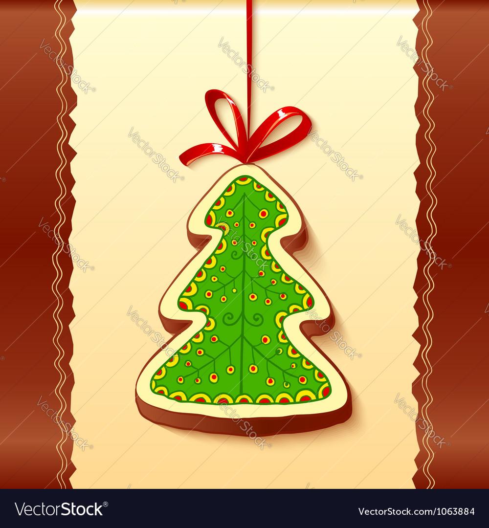 Christmas tree chocolate honey-cake greetings card vector | Price: 1 Credit (USD $1)