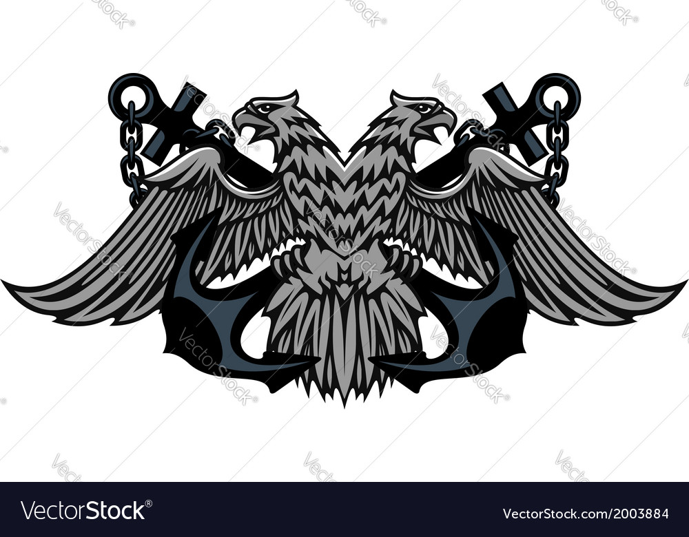 Double headed imperial eagle on anchors vector | Price: 1 Credit (USD $1)