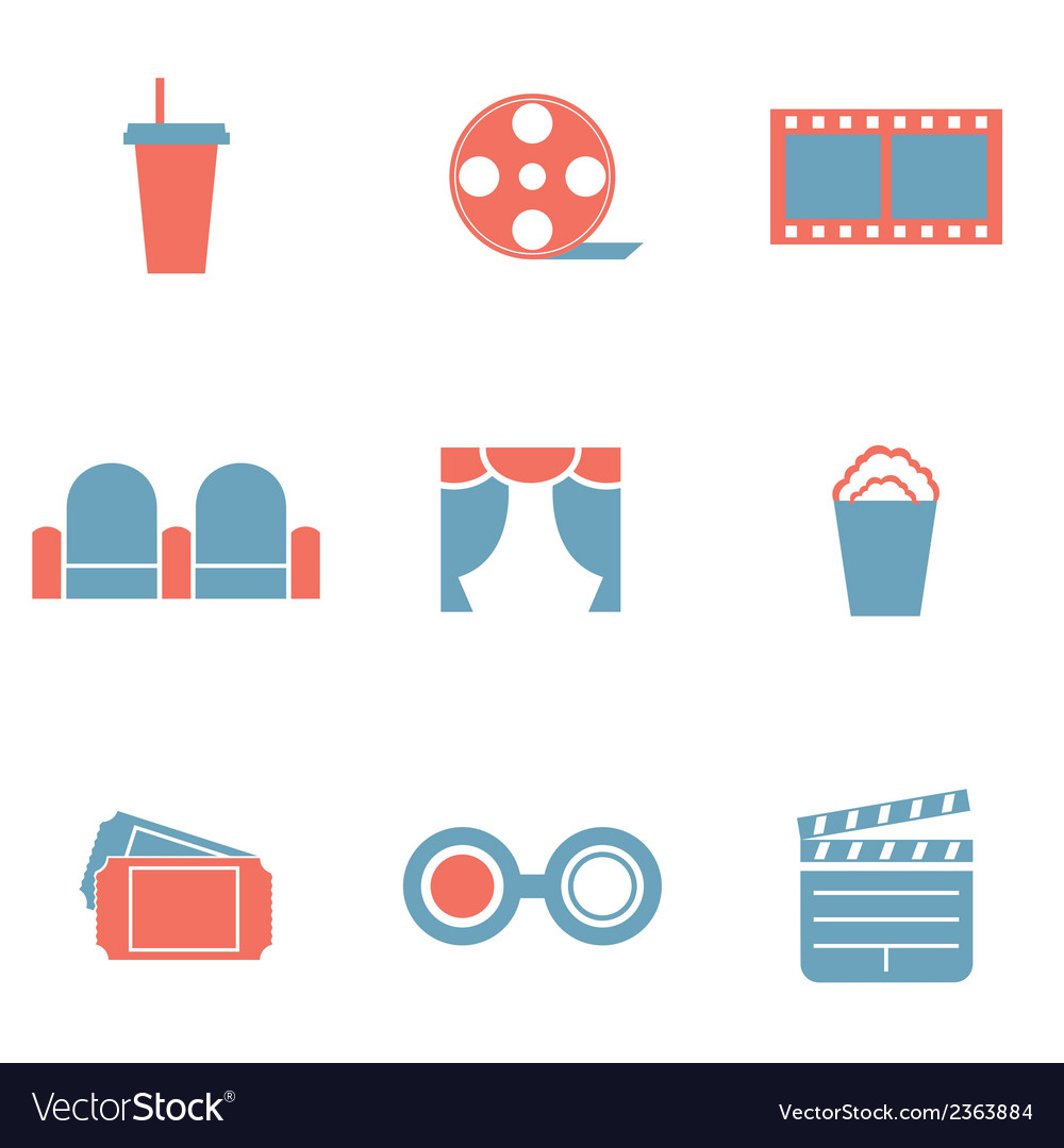 Flat design duotone cinema icons vector | Price: 1 Credit (USD $1)