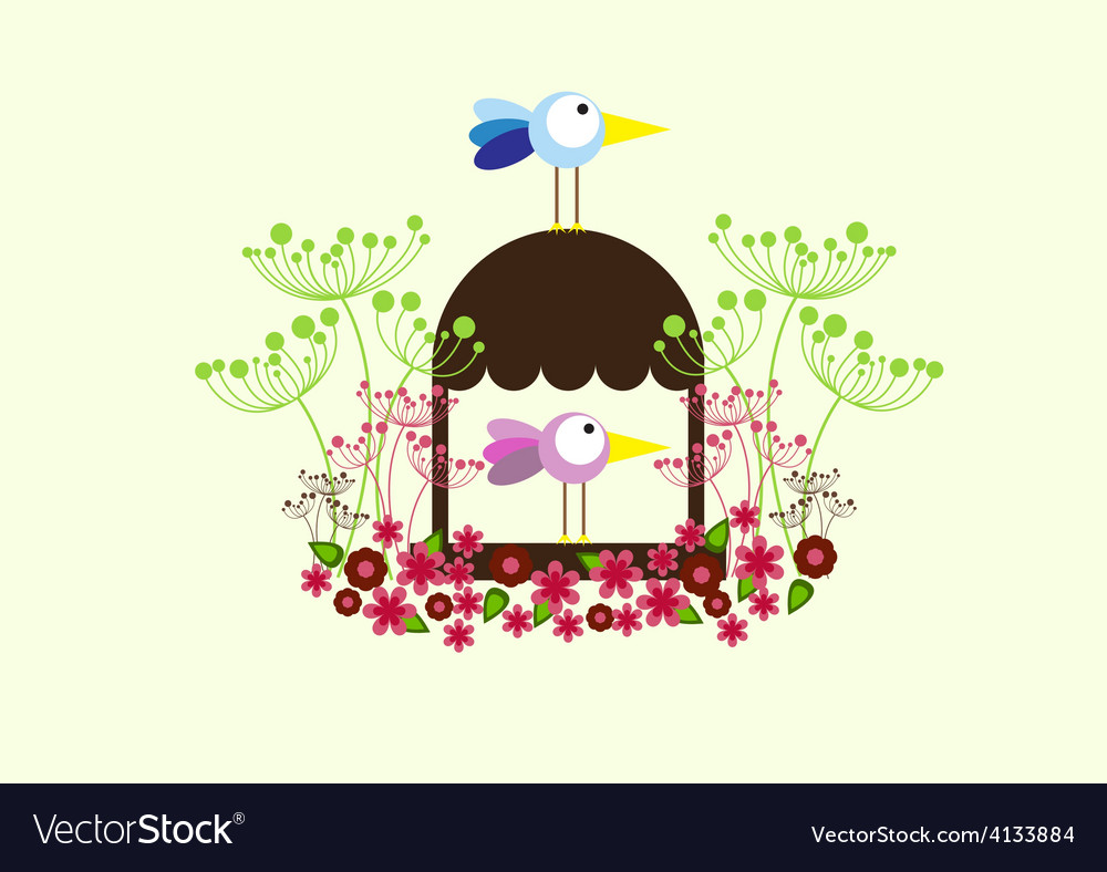 Home family spring flowers birds vector | Price: 1 Credit (USD $1)