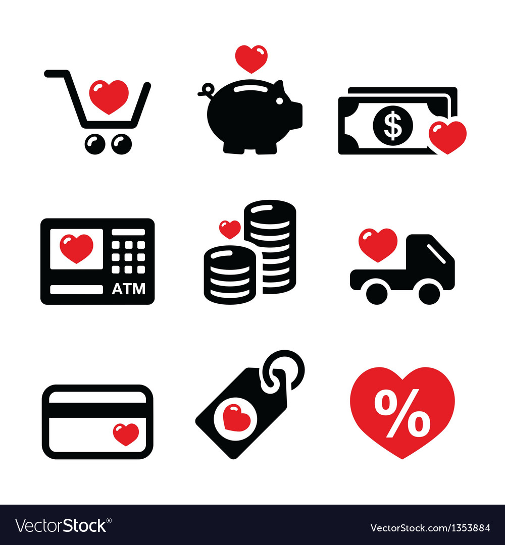 I love shopping i love money icons vector | Price: 1 Credit (USD $1)