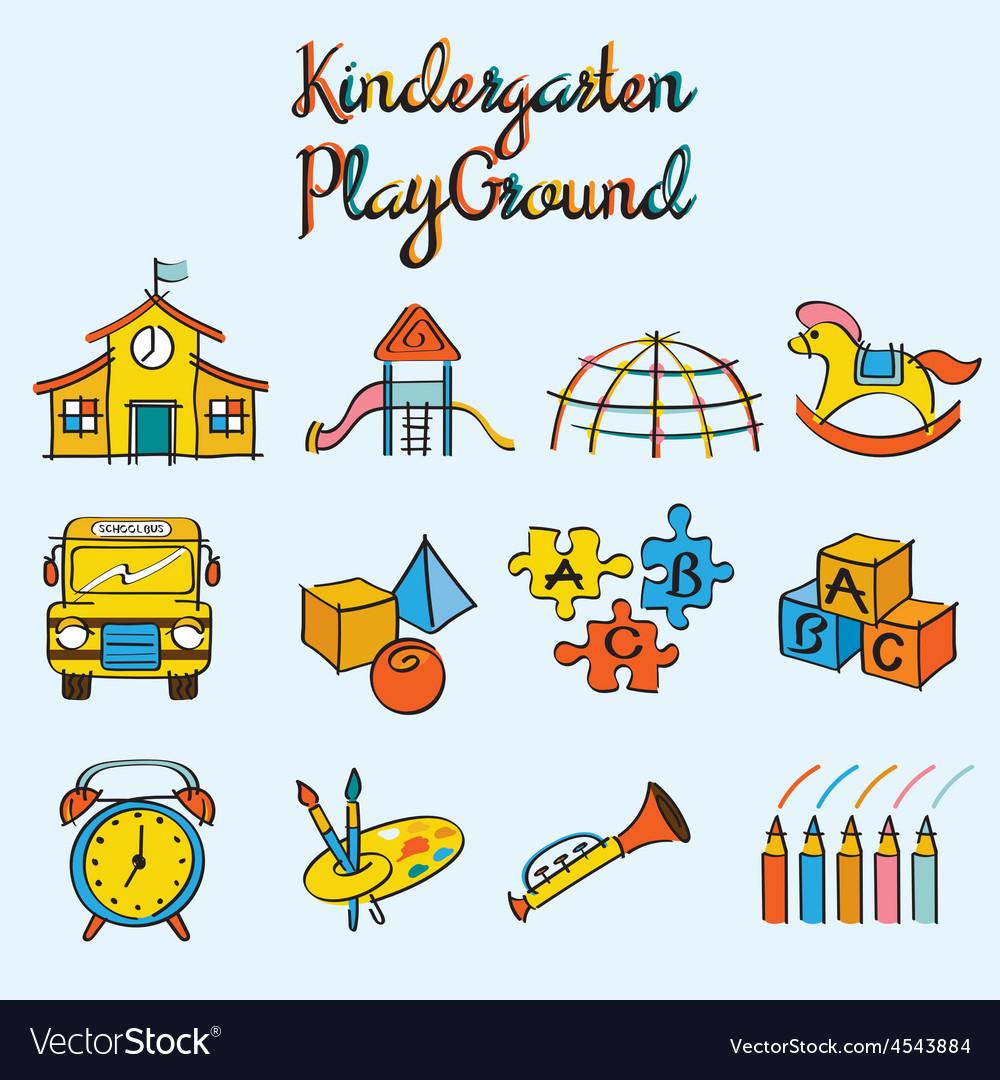 Kindergarten toys and playground set vector | Price: 1 Credit (USD $1)