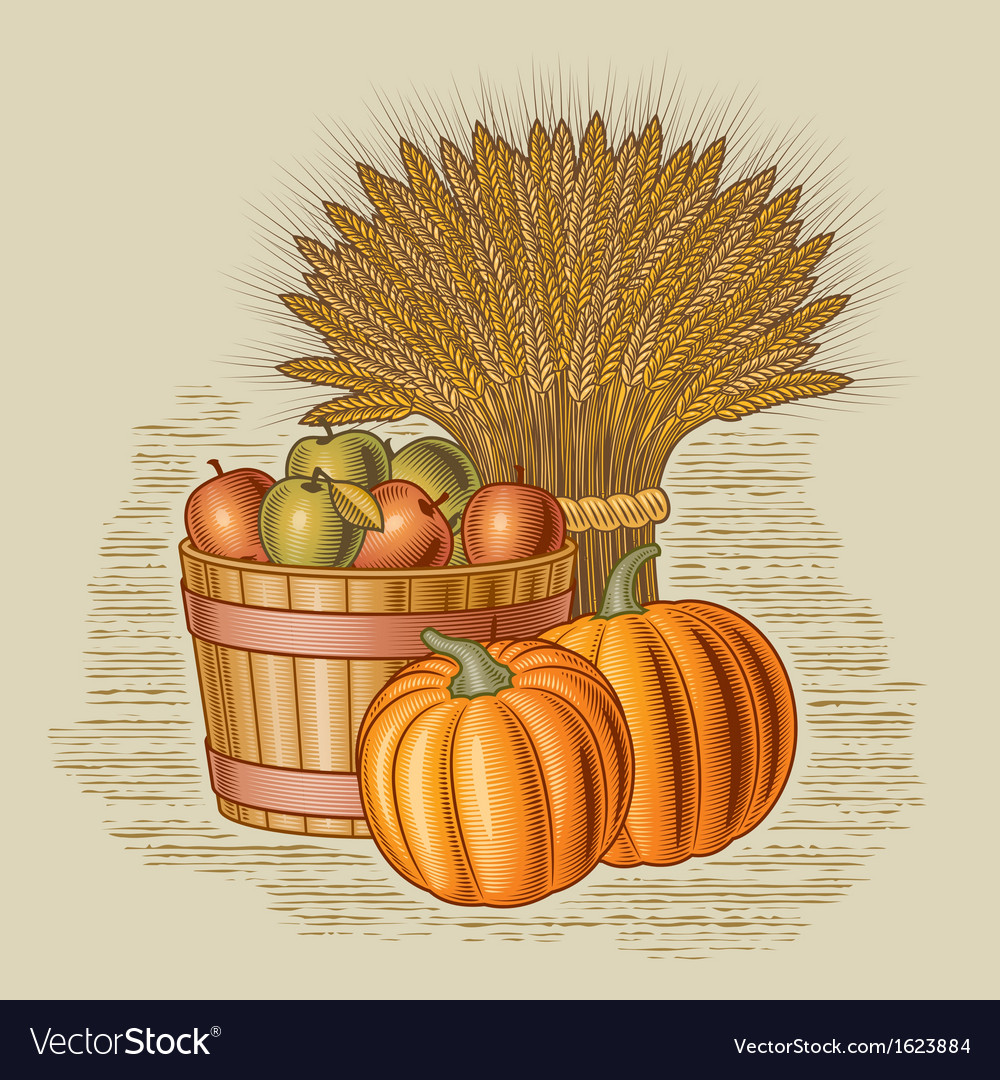 Retro harvest still life vector | Price: 1 Credit (USD $1)