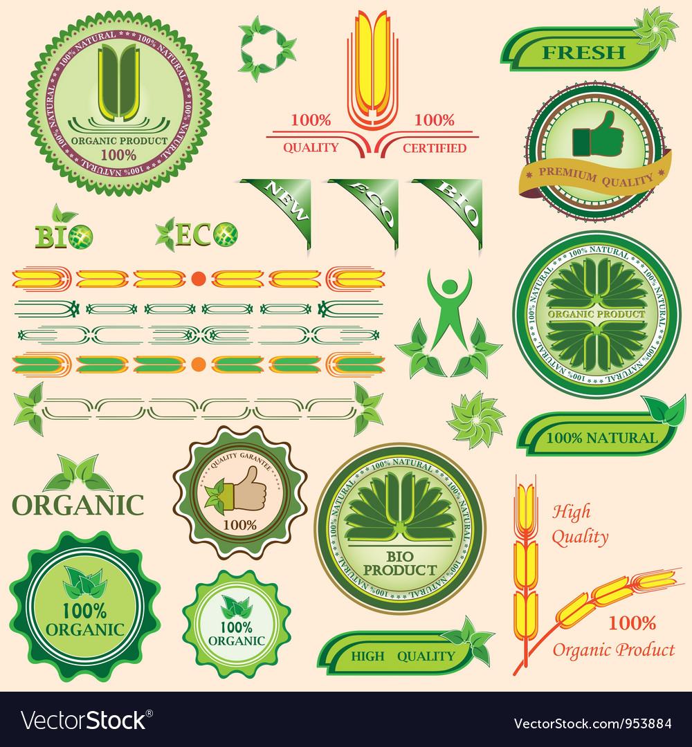 Set of bio and organic badges vector | Price: 1 Credit (USD $1)