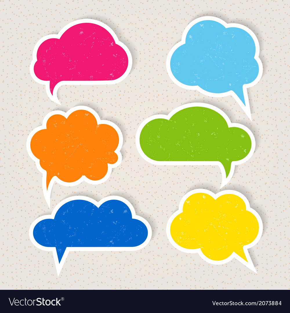 Set of colorful frayed speech bubbles vector | Price: 1 Credit (USD $1)