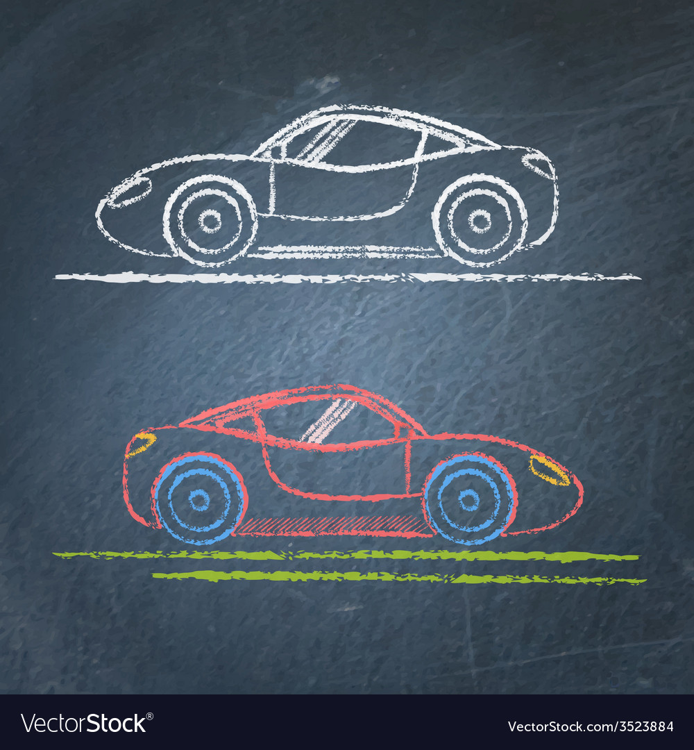 Sports car sketch on chalkboard vector | Price: 1 Credit (USD $1)