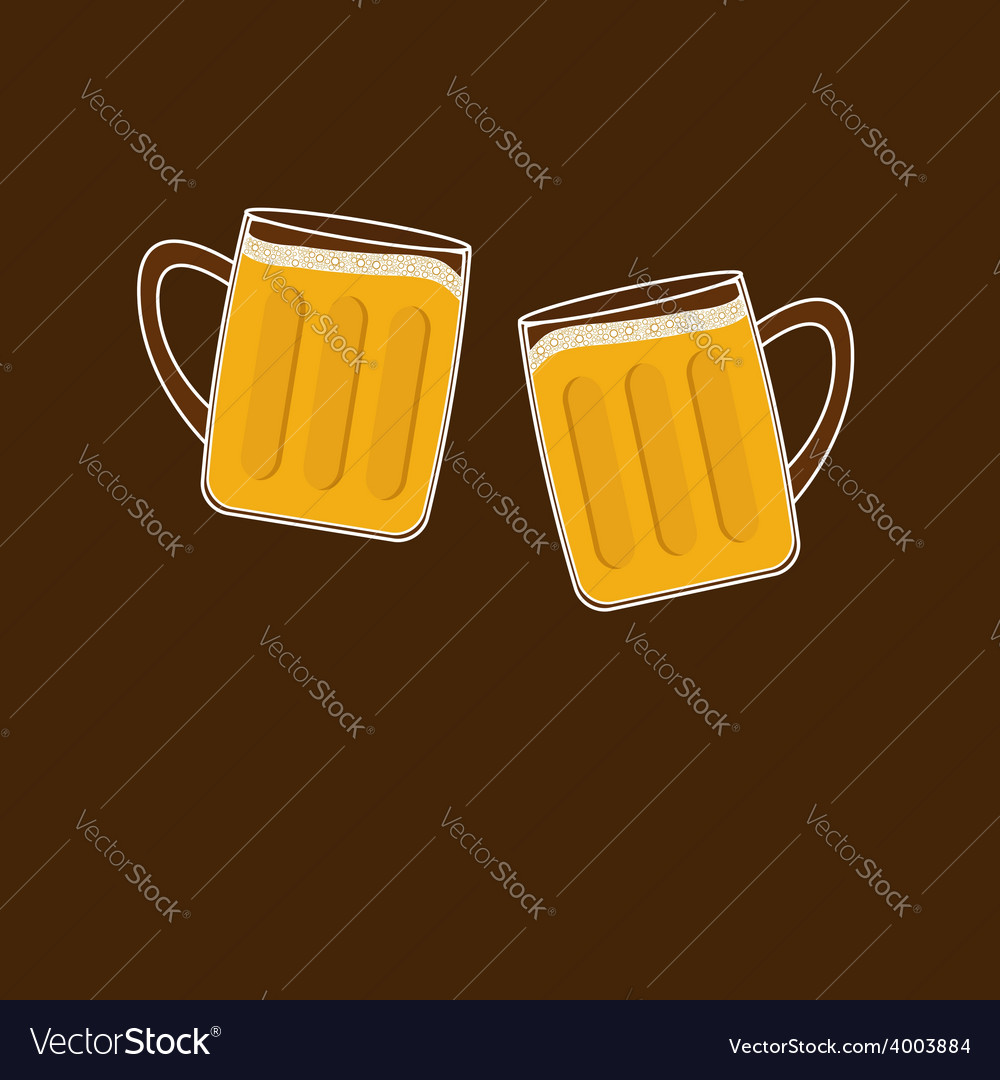 Two clink beer glasses mug with foam cap froth vector | Price: 1 Credit (USD $1)