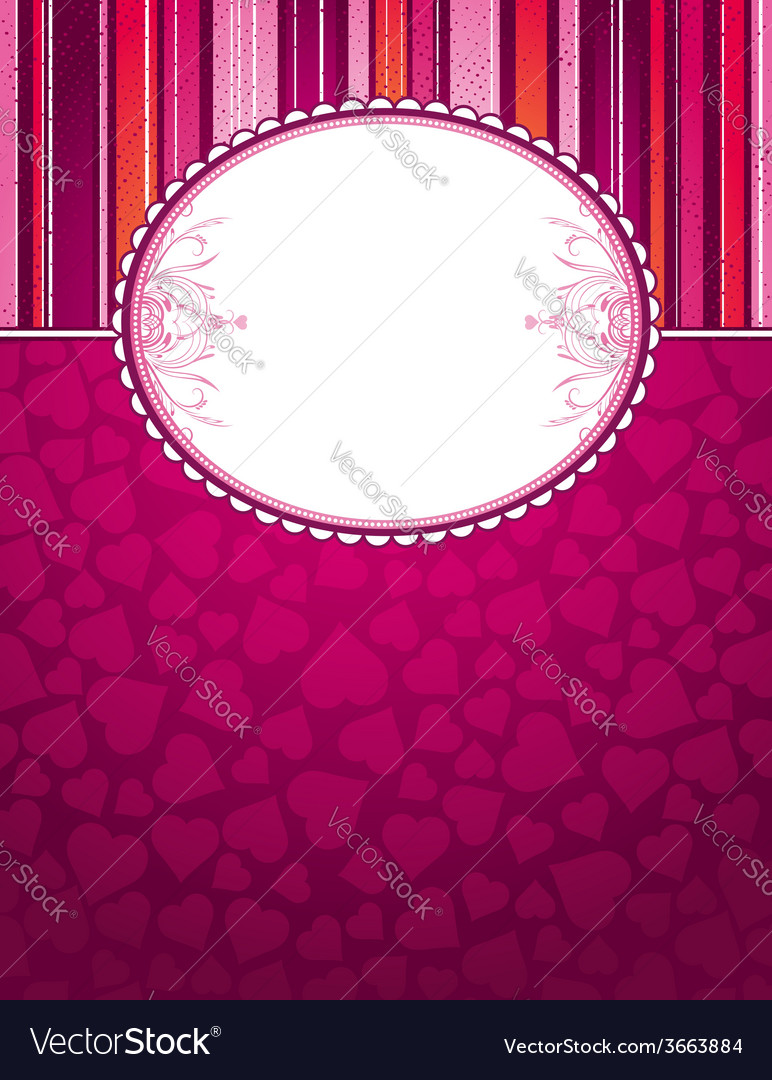 Valentine pink background with big label and heart vector | Price: 1 Credit (USD $1)