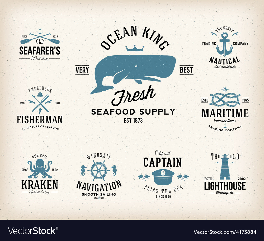 Vintage nautical labels or design elements with vector | Price: 1 Credit (USD $1)