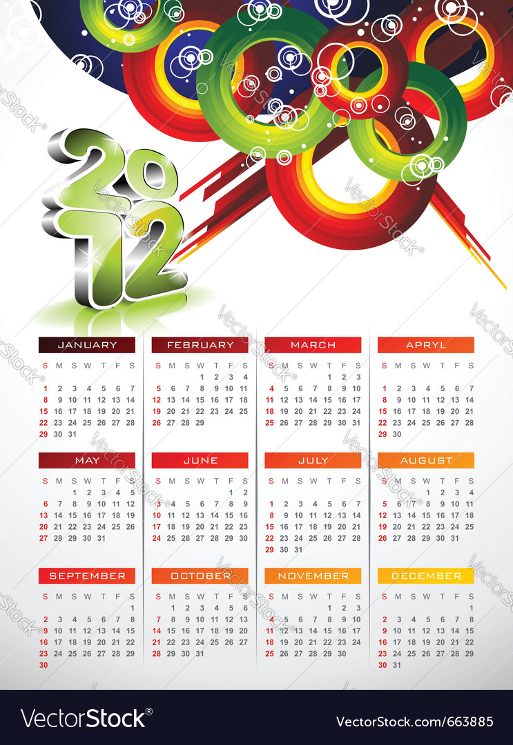 Calendar design 2012 with abstract circle design vector | Price: 3 Credit (USD $3)