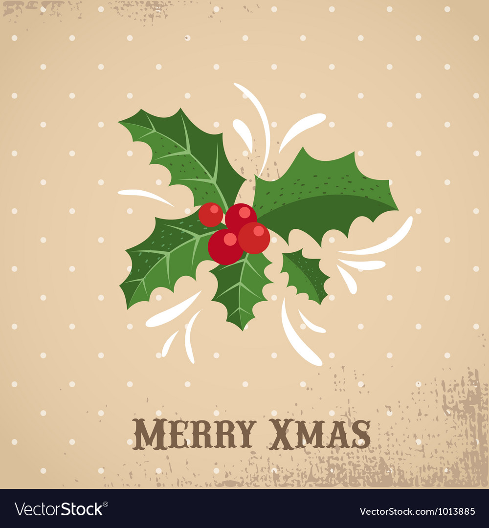 Christmas background with holly leafs vector | Price: 1 Credit (USD $1)