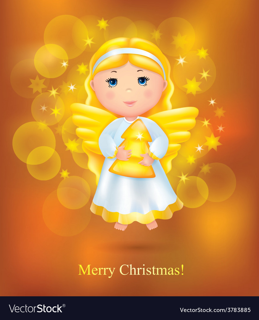 Christmas card with angel vector | Price: 3 Credit (USD $3)