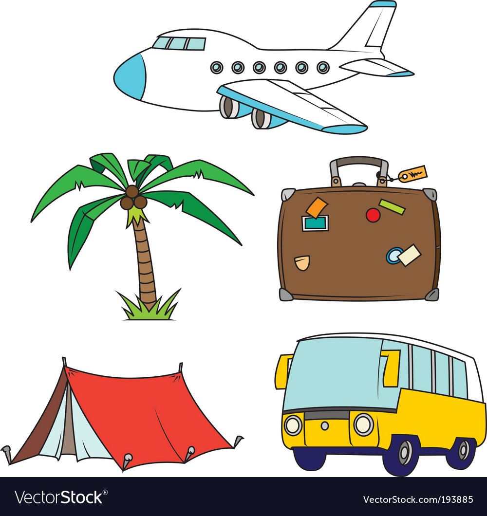 Holidays and travel clipart set vector | Price: 1 Credit (USD $1)