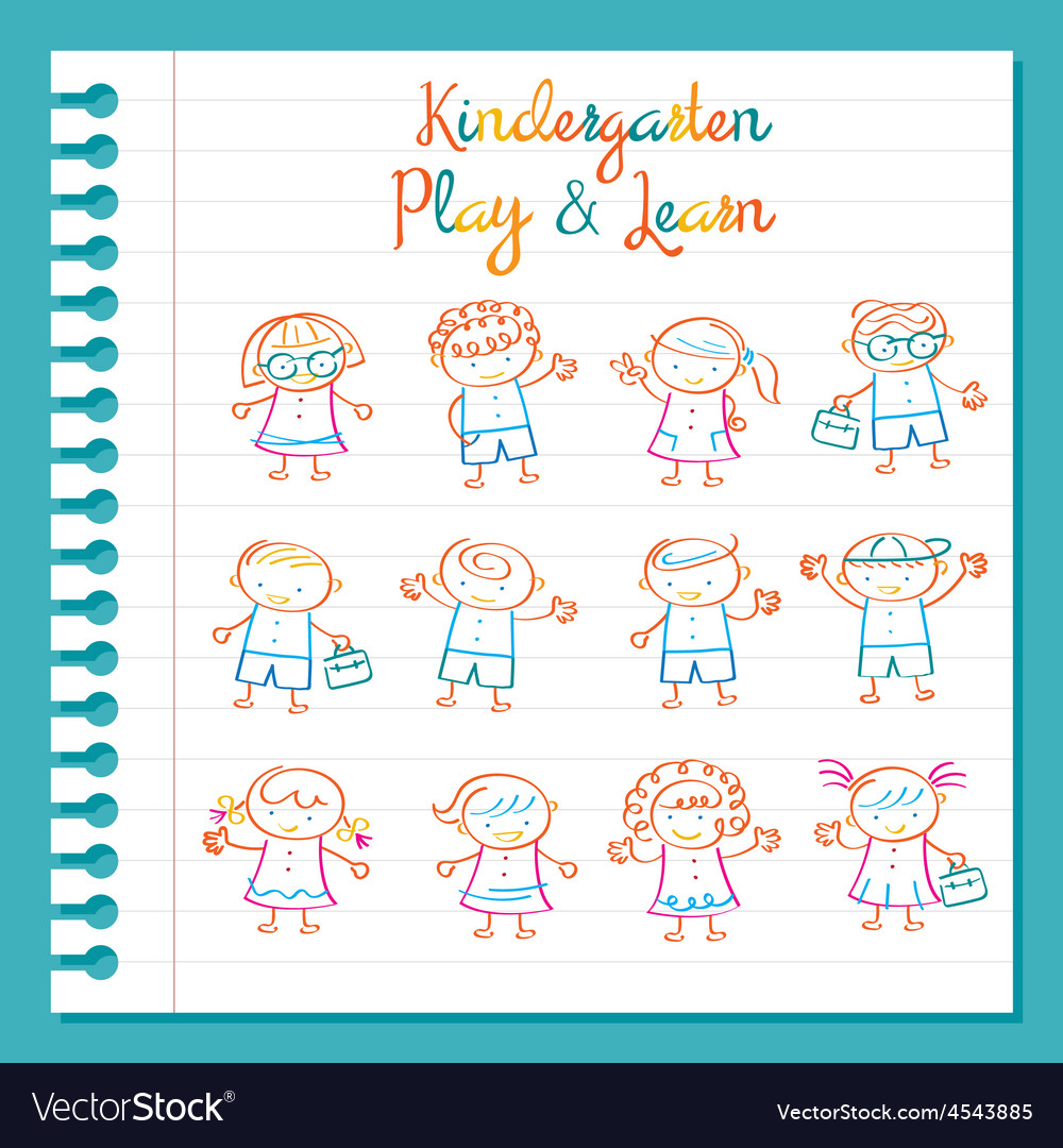 Kindergarten line drawing kids characters set vector