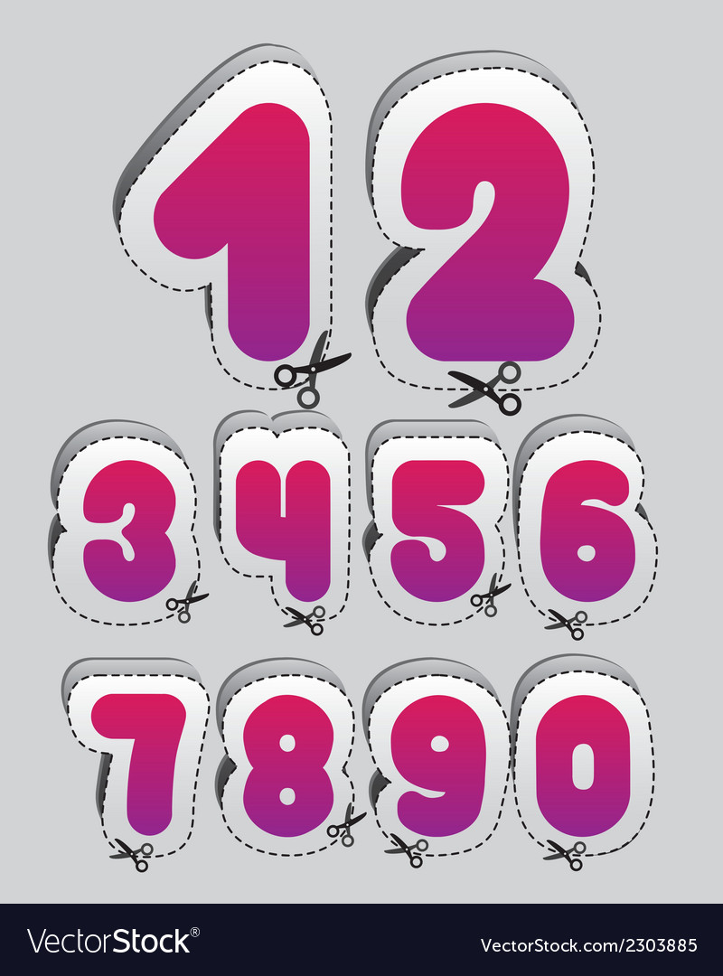 Label with cutting lines of the numbers from 1 to vector | Price: 1 Credit (USD $1)