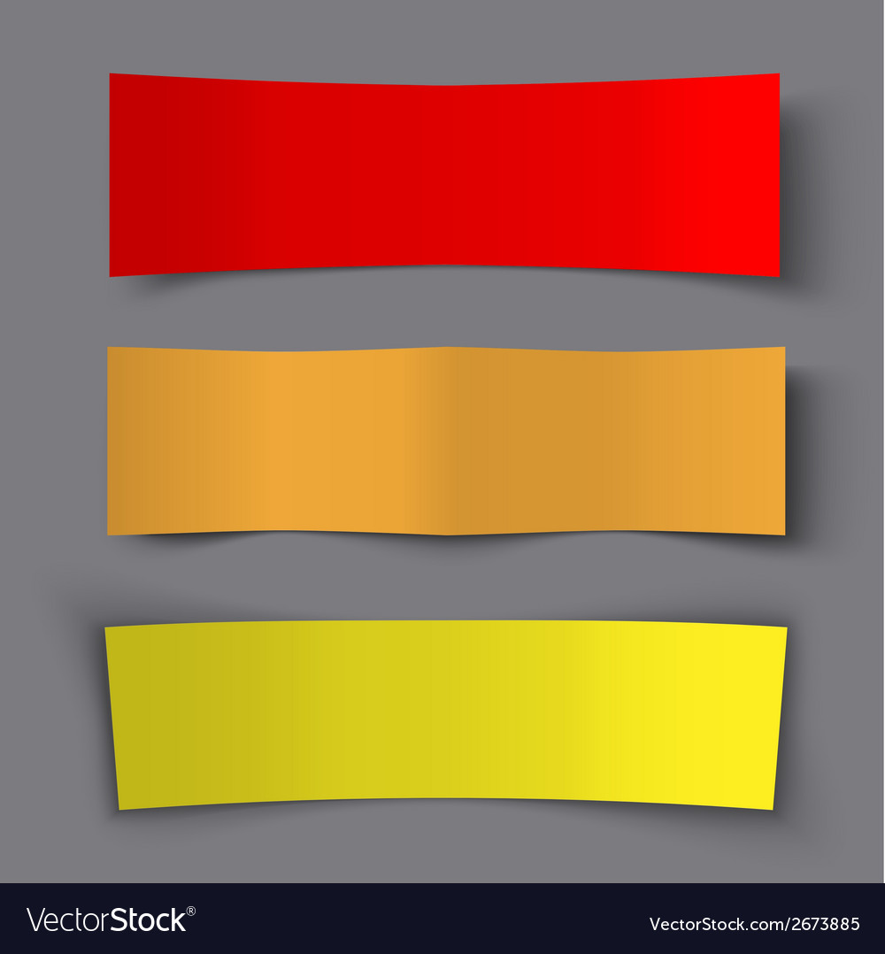 Set of bended paper colorful banners with shadows vector | Price: 1 Credit (USD $1)
