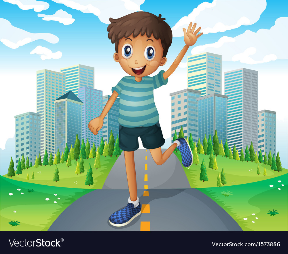 A boy waving while running in the middle of the vector | Price: 3 Credit (USD $3)