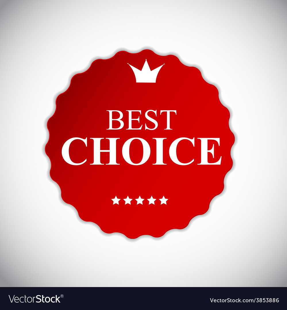 Best choice red label with ribbon vector | Price: 1 Credit (USD $1)