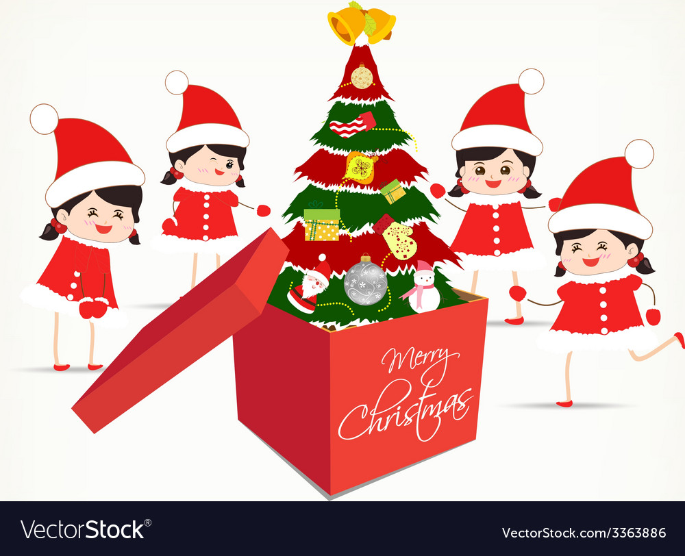 Christmas tree gift boxes and kids greeting card vector | Price: 1 Credit (USD $1)
