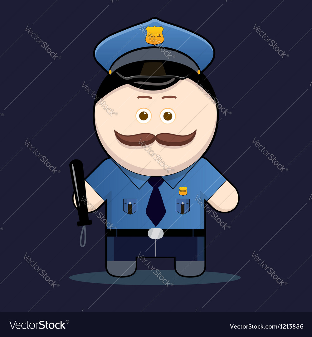 Cute policeman with truncheon vector | Price: 3 Credit (USD $3)