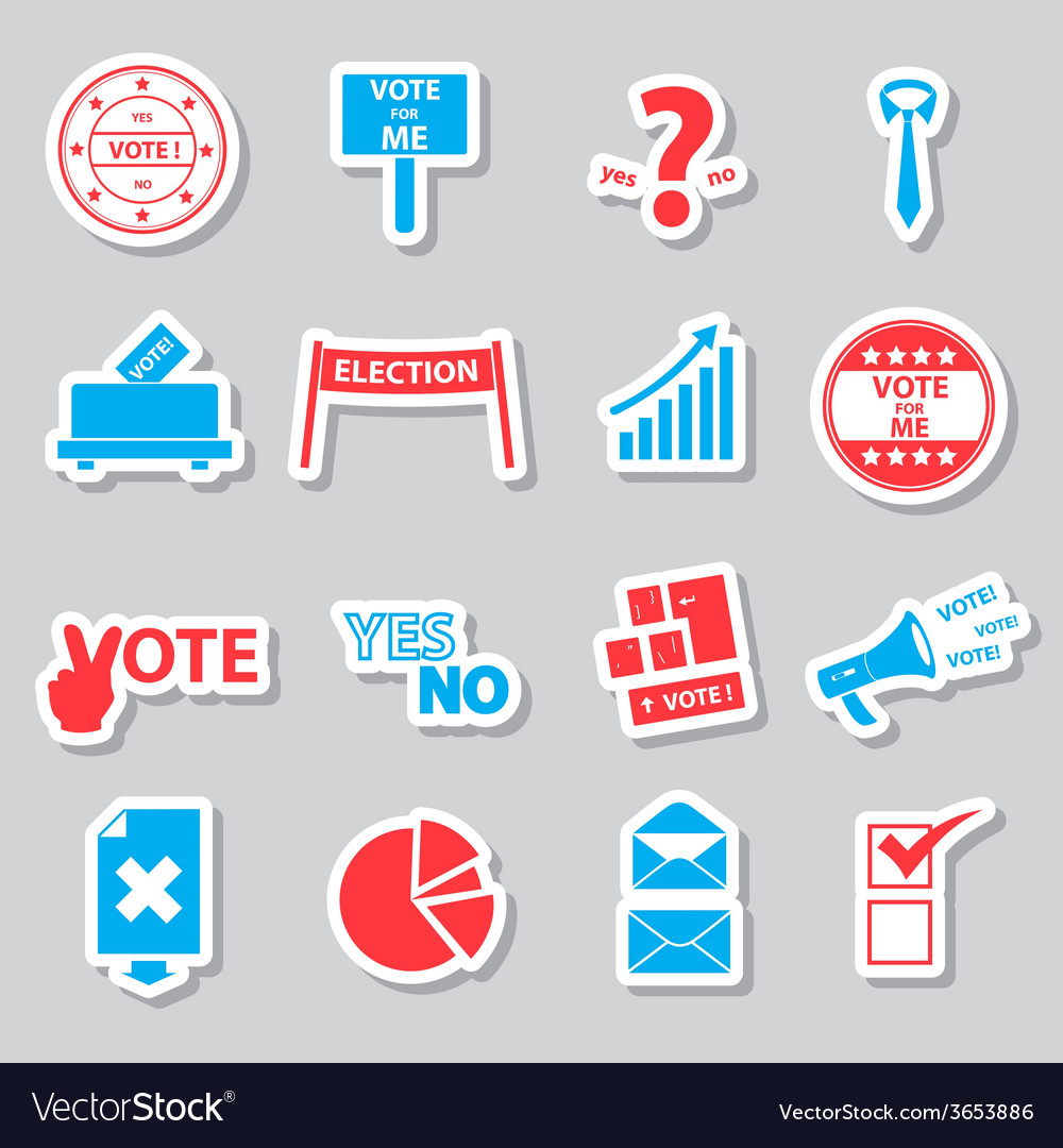 Election and vote color simple stickers set eps10 vector | Price: 1 Credit (USD $1)