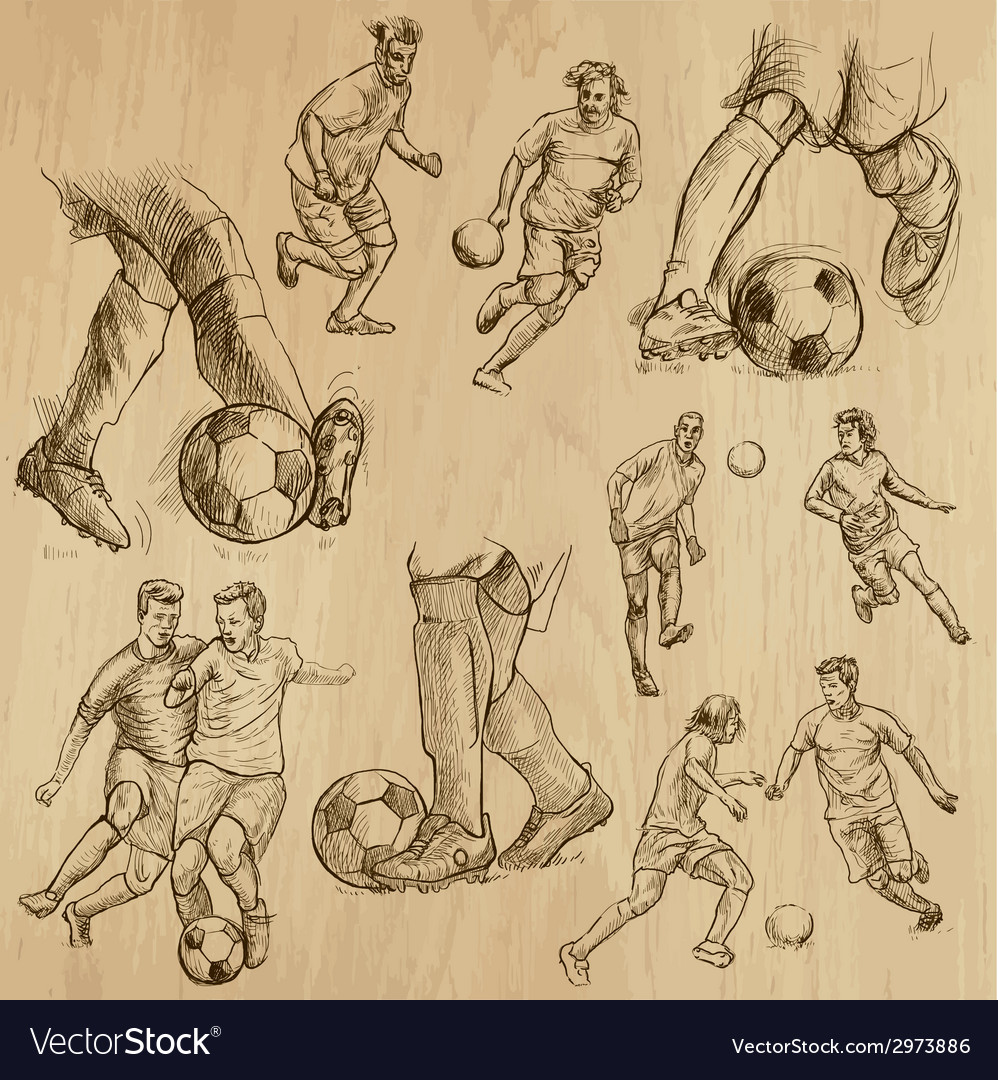 Football set collection of soccer players vector | Price: 1 Credit (USD $1)