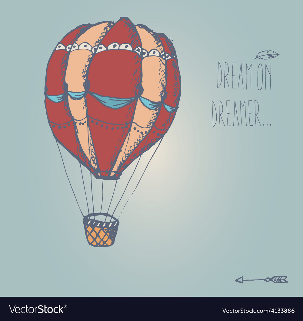 Hand drawn vintage hot air balloon with message vector | Price: 1 Credit (USD $1)