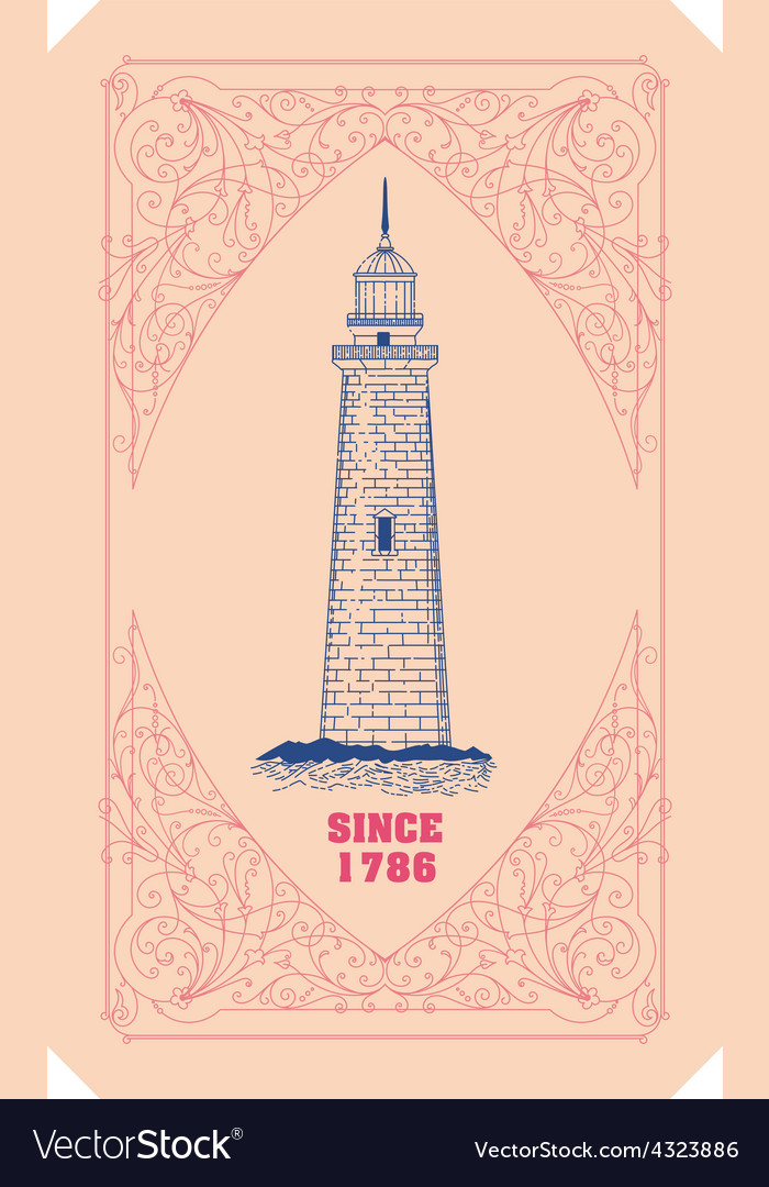 Lighthouse card organized by layers vector | Price: 1 Credit (USD $1)