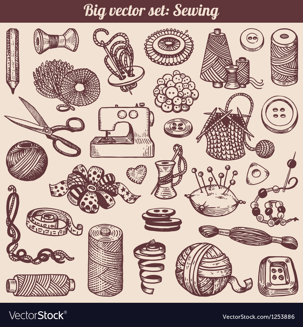 Sewing and needlework doodles collection vector | Price: 1 Credit (USD $1)