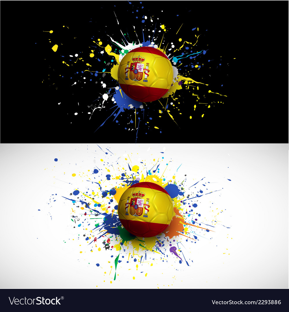 Spain flag with soccer ball dash on colorful vector | Price: 1 Credit (USD $1)