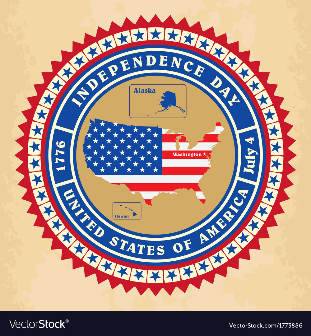 Vintage label with independence day of usa vector | Price: 1 Credit (USD $1)