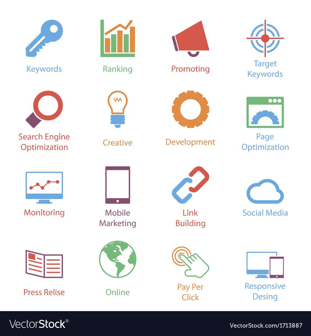 Color internet marketing icons vol 1 vector | Price: 1 Credit (USD $1)