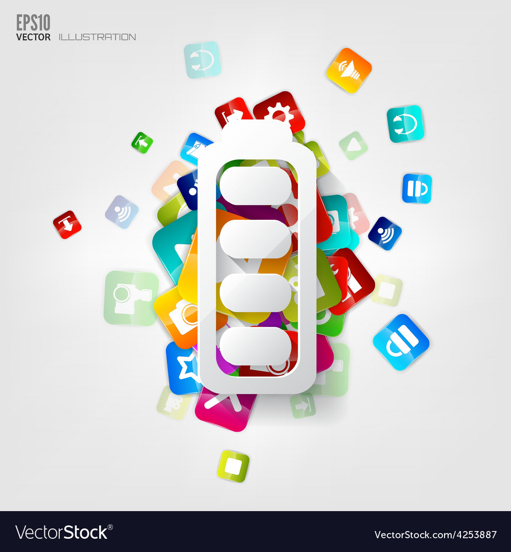 Full battery icon application buttonsocial media vector | Price: 3 Credit (USD $3)