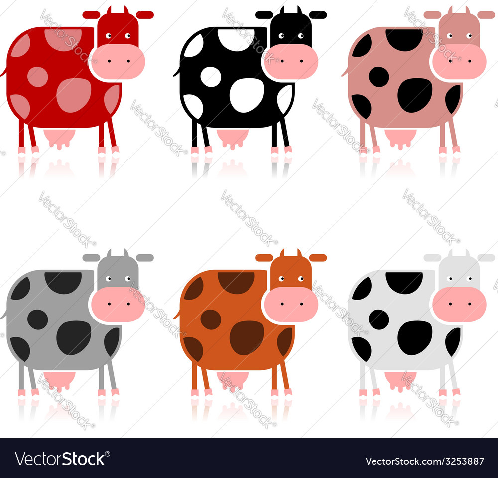 Funny cow collection for your design vector | Price: 1 Credit (USD $1)