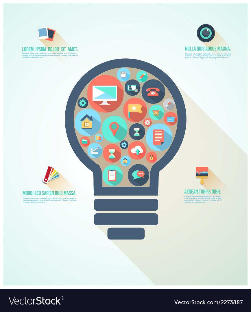 Light bulb infographic vector | Price: 1 Credit (USD $1)