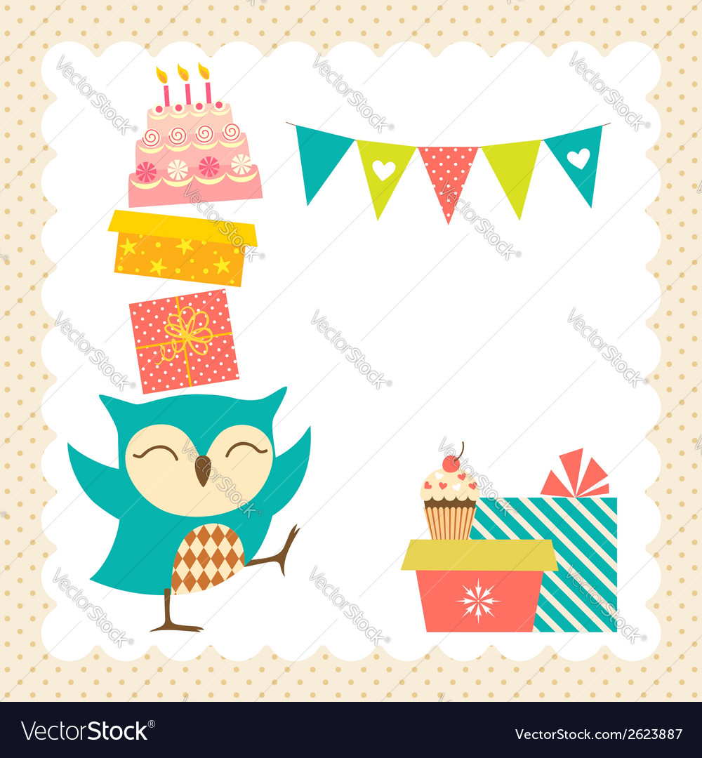Owl birthday party vector | Price: 1 Credit (USD $1)