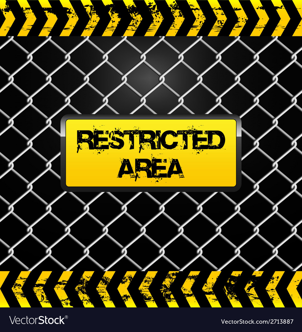 Restricted area sign - wire fence and yellow tapes vector | Price: 1 Credit (USD $1)