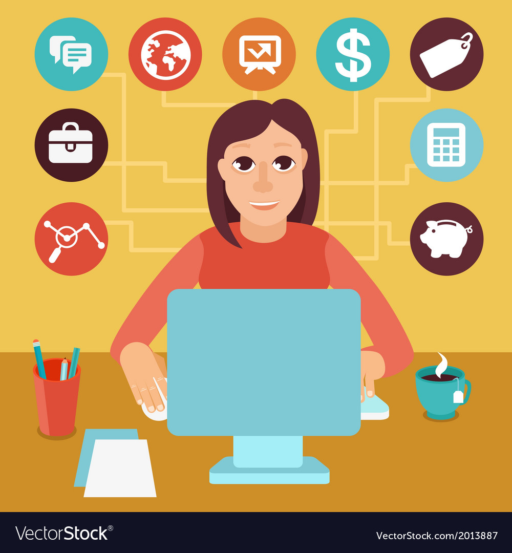 Self employed woman vector | Price: 1 Credit (USD $1)