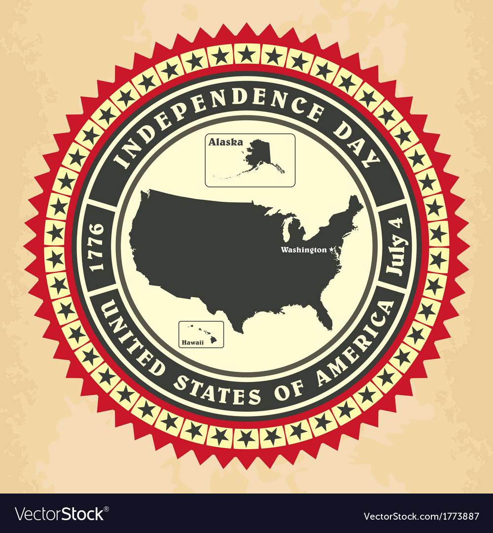 Vintage label with independence day of usa vector   Price: 1 Credit (USD $1)