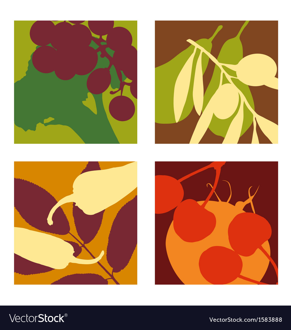 Abstract vegetable and fruit designs set 1 vector | Price: 1 Credit (USD $1)