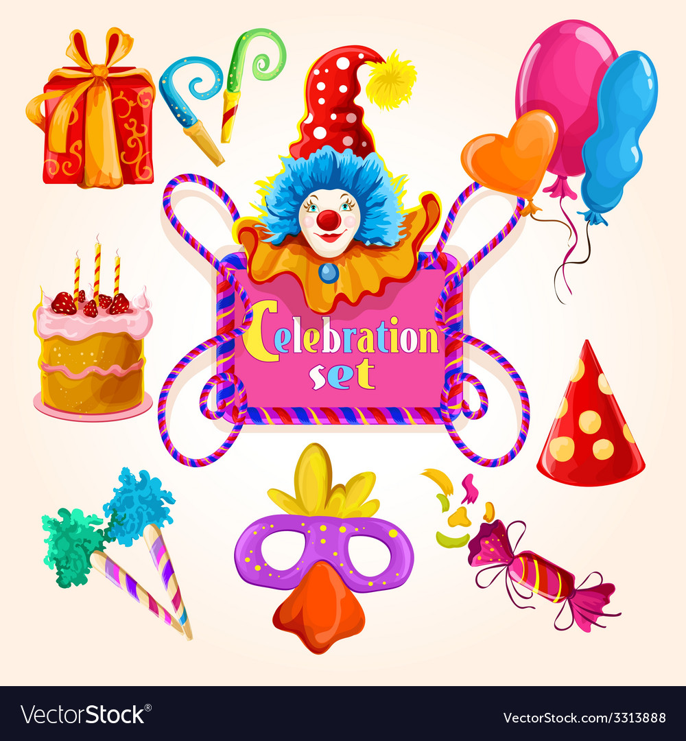 Celebration set colored vector | Price: 1 Credit (USD $1)