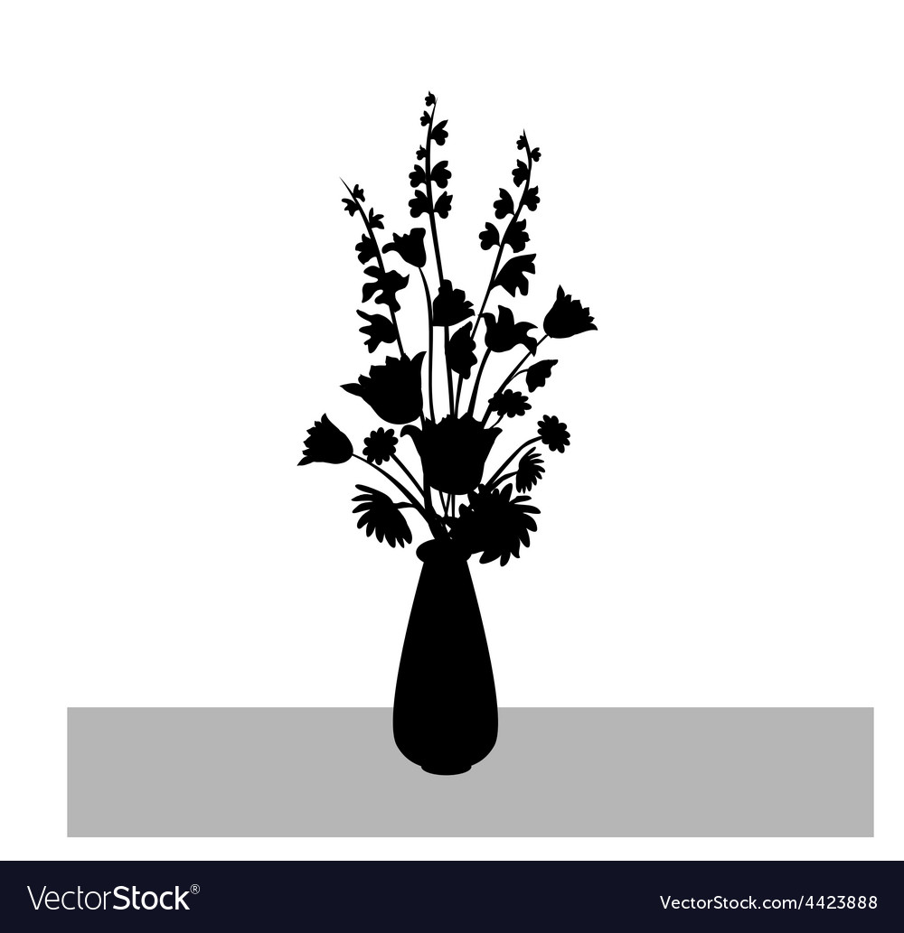 Flower branch with flower vase silhouette vector | Price: 1 Credit (USD $1)