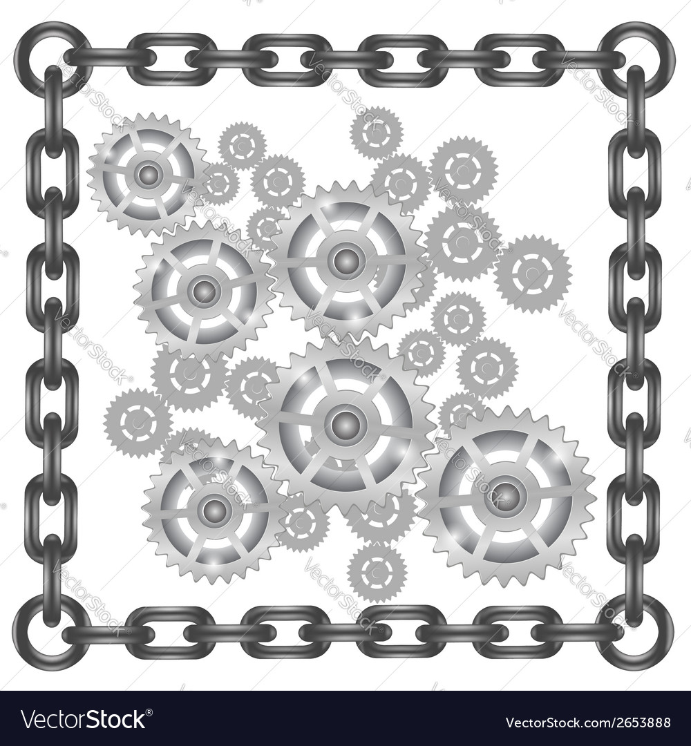 Gears in chain frame vector | Price: 1 Credit (USD $1)
