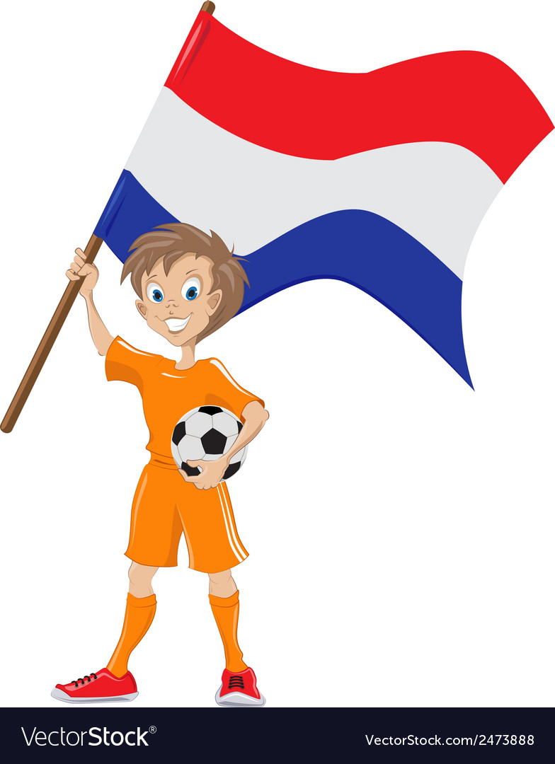 Happy soccer fan holds holland flag cartoon vector | Price: 1 Credit (USD $1)